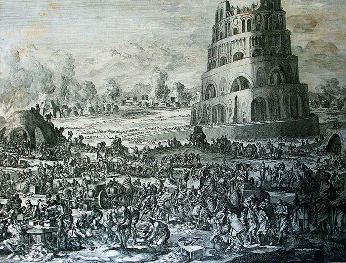 Ян и Каспар Лёйкен, Строительство Вавилонской башни. 1694